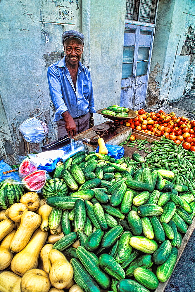 Colorful Local Man at Vegetable Market St Lucia