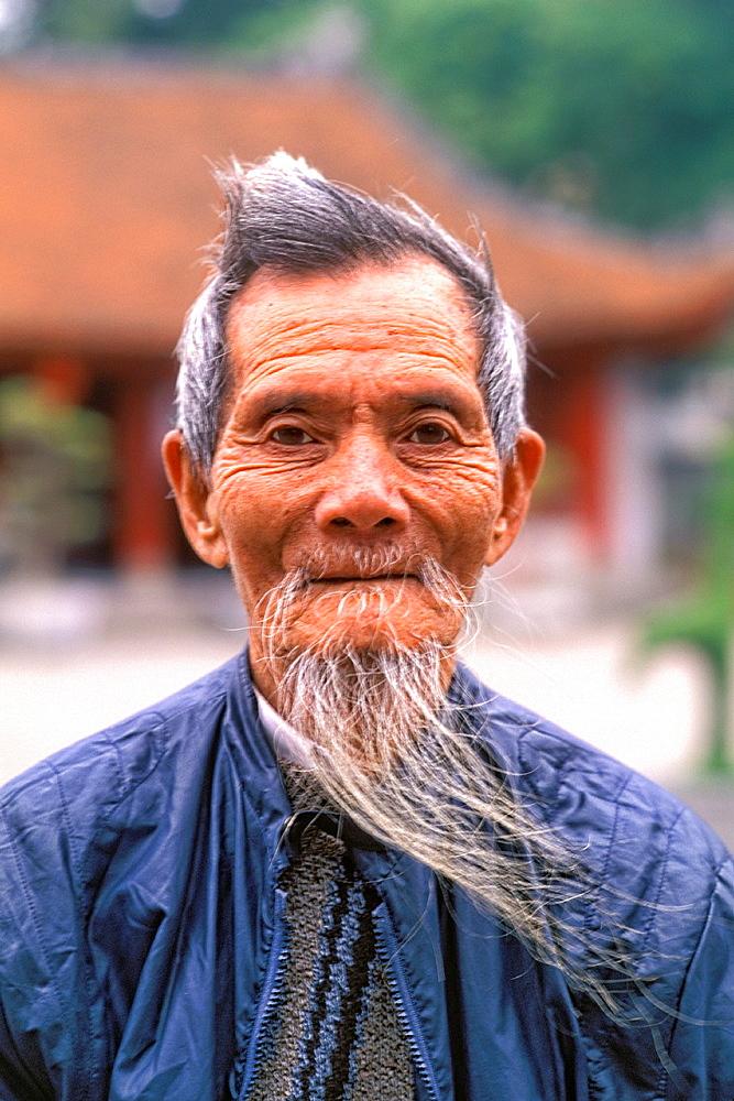Wonderful Portrait of a Man with White Beard Hanoi Van Mieu Vietnam