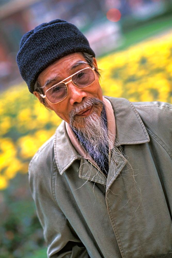 Portrait of a Stylish Man with White Beard Hanoi Van Mieu Vietnam