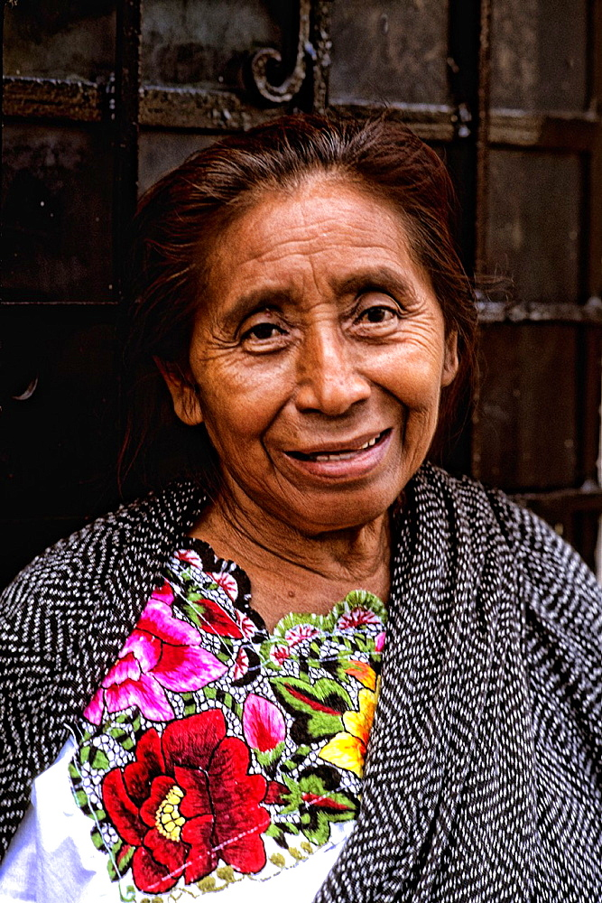 Colorful Portrait of local woman in Tulum, Mexico