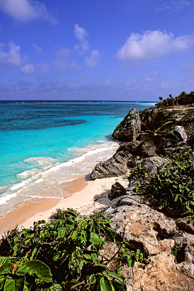 Beautiful Beaches at Tulum Ruins in Riviera Maya Mexico