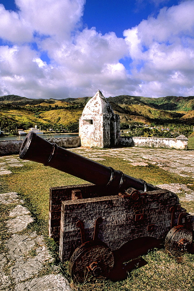 Historical military cannons at military fortress Fort Santa Agueda Hagatna in Guam USA