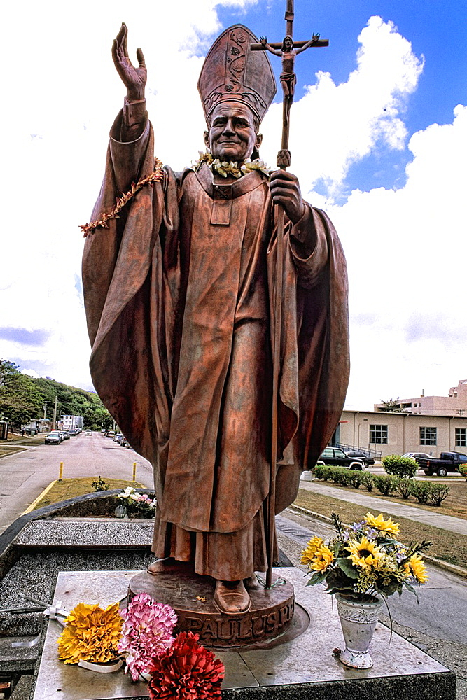 Statue dedicated to Pope John Paul when Visted in 1981 in Hagatna City Guam USA