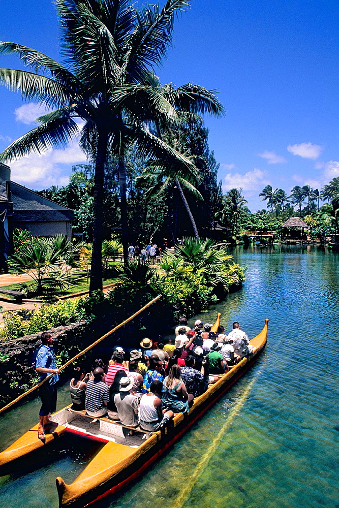 Polynesian Cultural Center Tourist Boats Guided Thru Beautiful Village in Hawaii USA