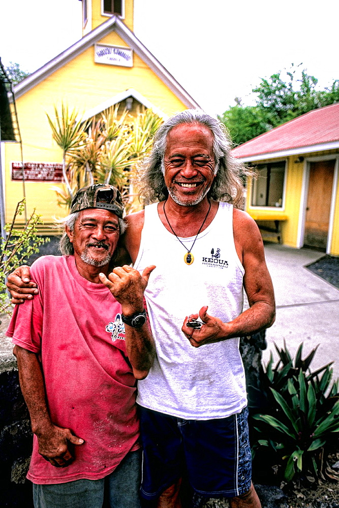 Fishermen characters at the remote village of Milolli on the Big Island of Hawaii