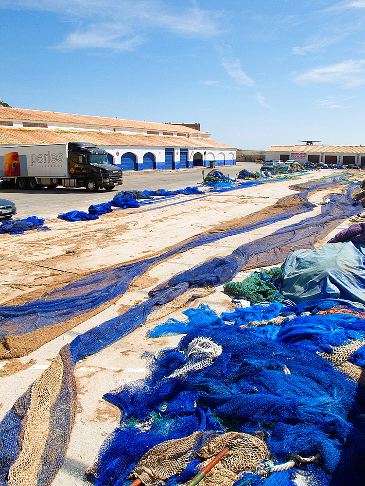 Fish market and networks Calpe Alicante Spain