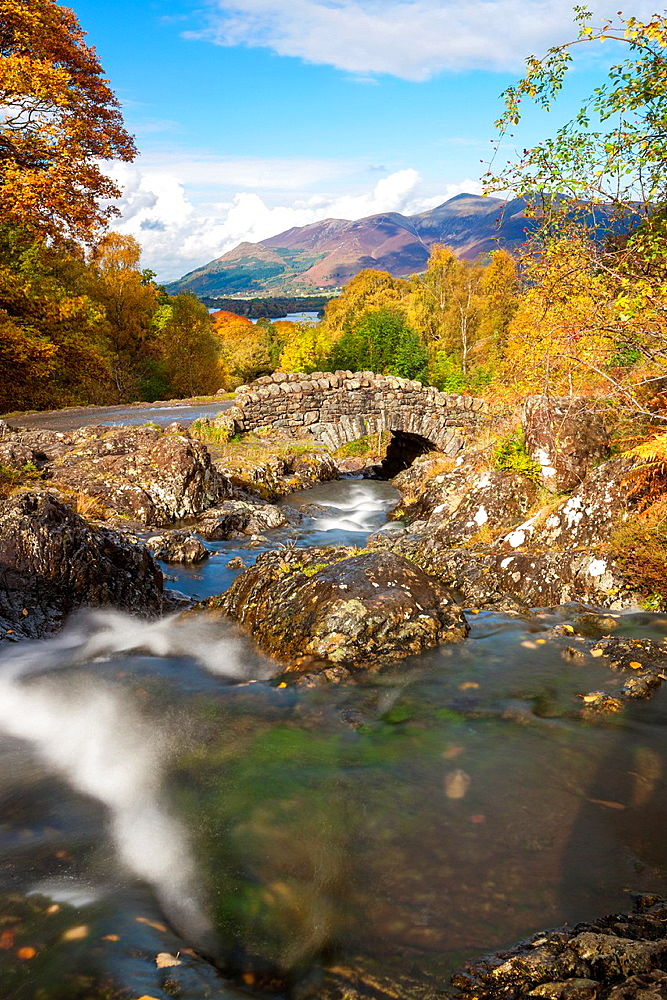 Ashness Bridge and stream in autumn, Lake District National Park, Cumbria, England, UK, Europe