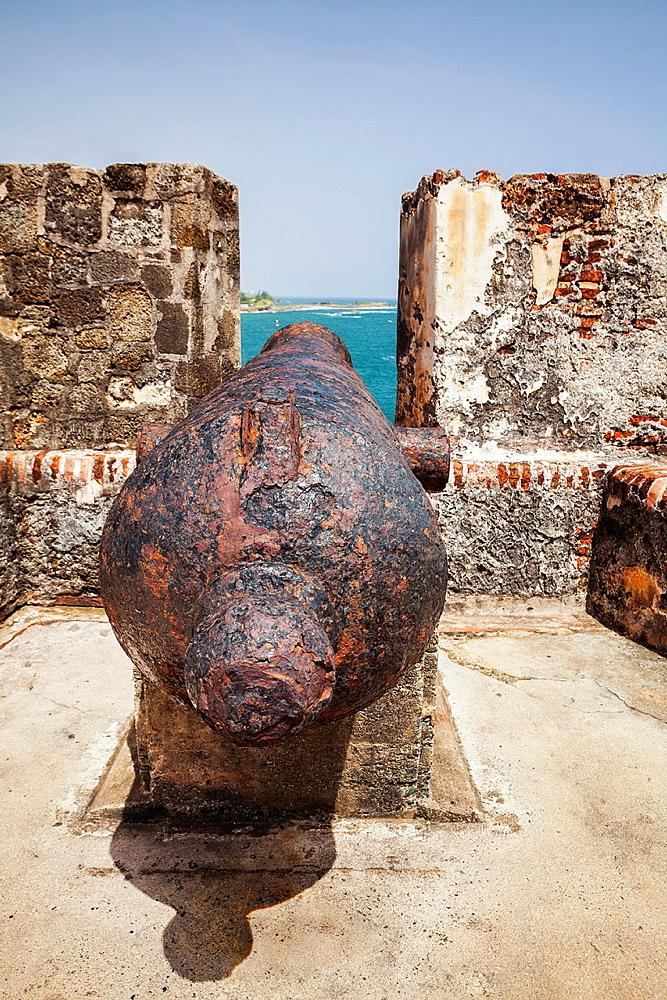 Cannon at Castillo San Felipe del Morro, San Juan National Historic Site, a national park in Old San Juan, Puerto Rico