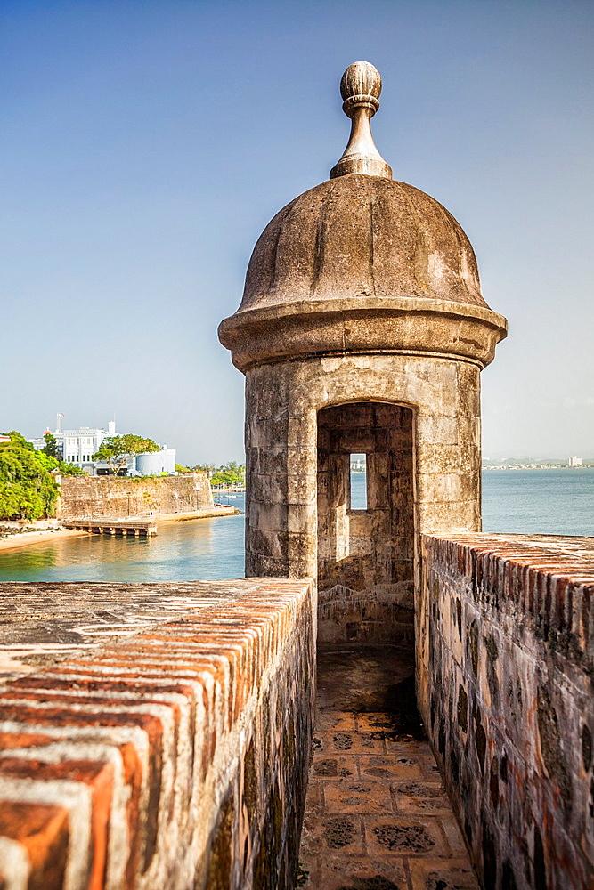 A sentry box, Castillo San Felipe del Morro, San Juan National Historic Site, a national park in Old San Juan, Puerto Rico