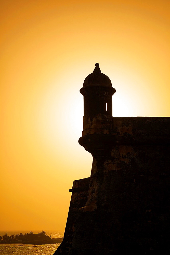 Sentry Box at Sunset, Fort Castillo San Felipe del Morro, San Juan National Historic Site, a national park in Old San Juan, Puerto Rico