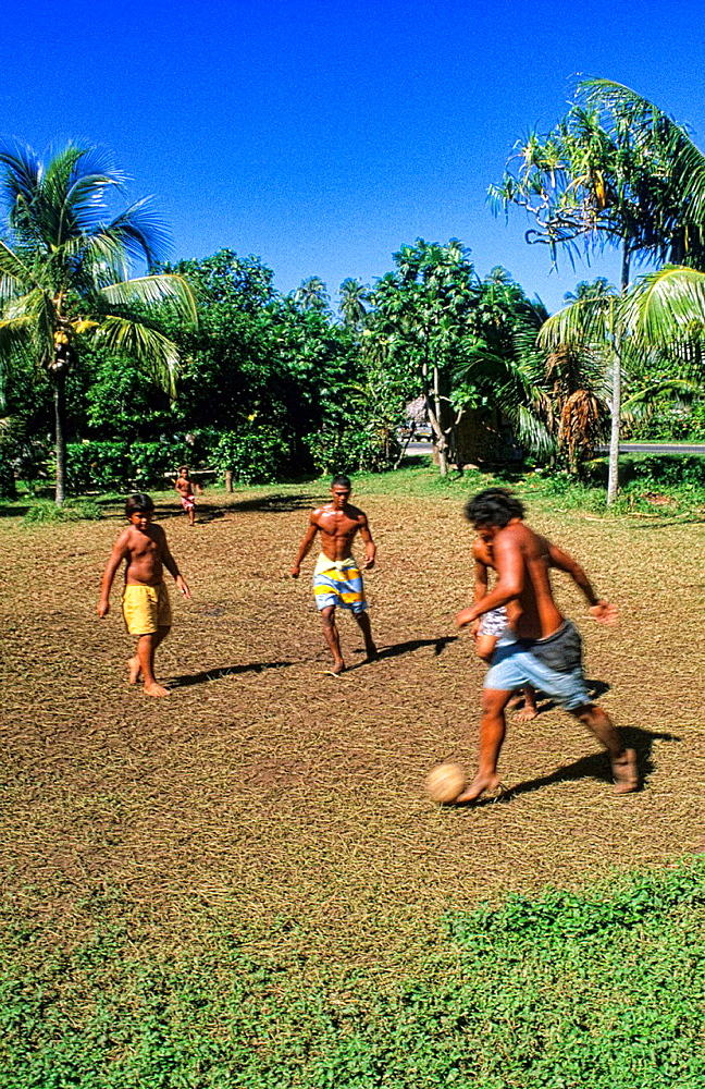 Children playing soccer in Heapiti in Tahiti in French Polynesia - 817-412270