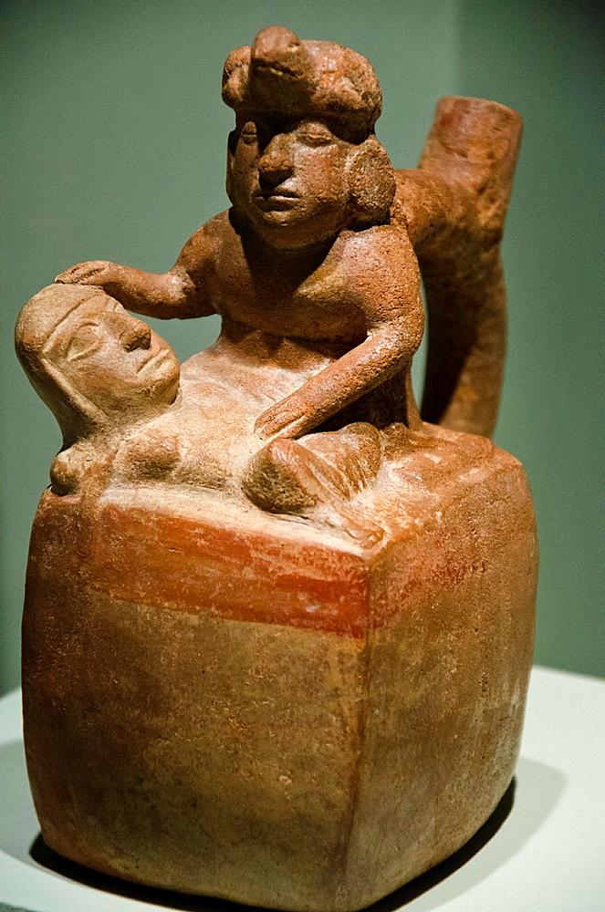 Ceramic vessel, depicting medical practices Moche culture 100 AC-800 AC Peru