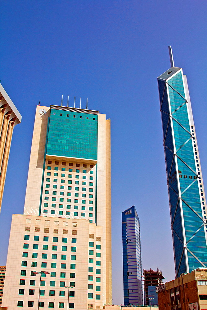 Modern Hotel and Skyscraper,Street view in Kuwait city
