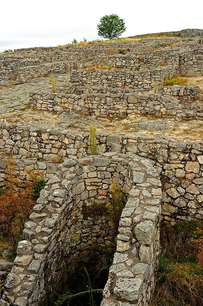 Ruins of the human settlement of Lambrica, the original name of the Castro de San Cibrao de Las Ourense, Galicia, Spain