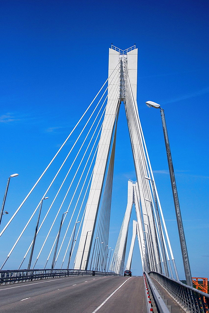 Cable-stayed bridge over Oka river in Russia