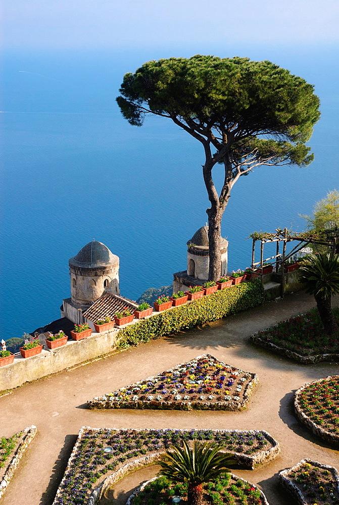 Villa Rufolo gardens, Ravello, Amalfi coast, Costiera Amalfitana, Province of Salerno, Campania, Italy, Europe