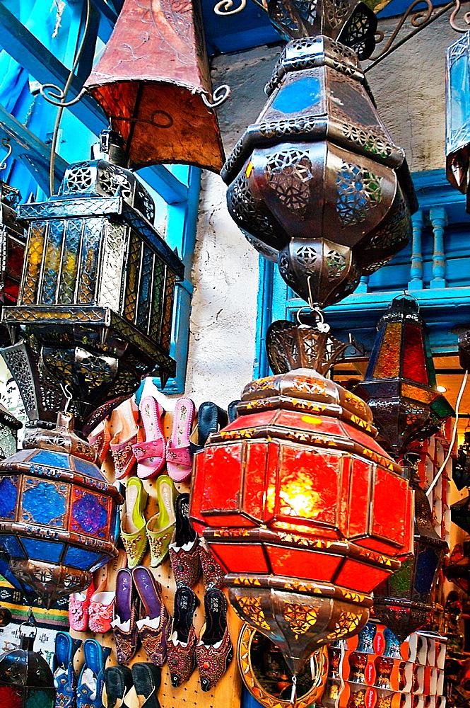 Lamps shop, Medina, Tunis Tunisia.
