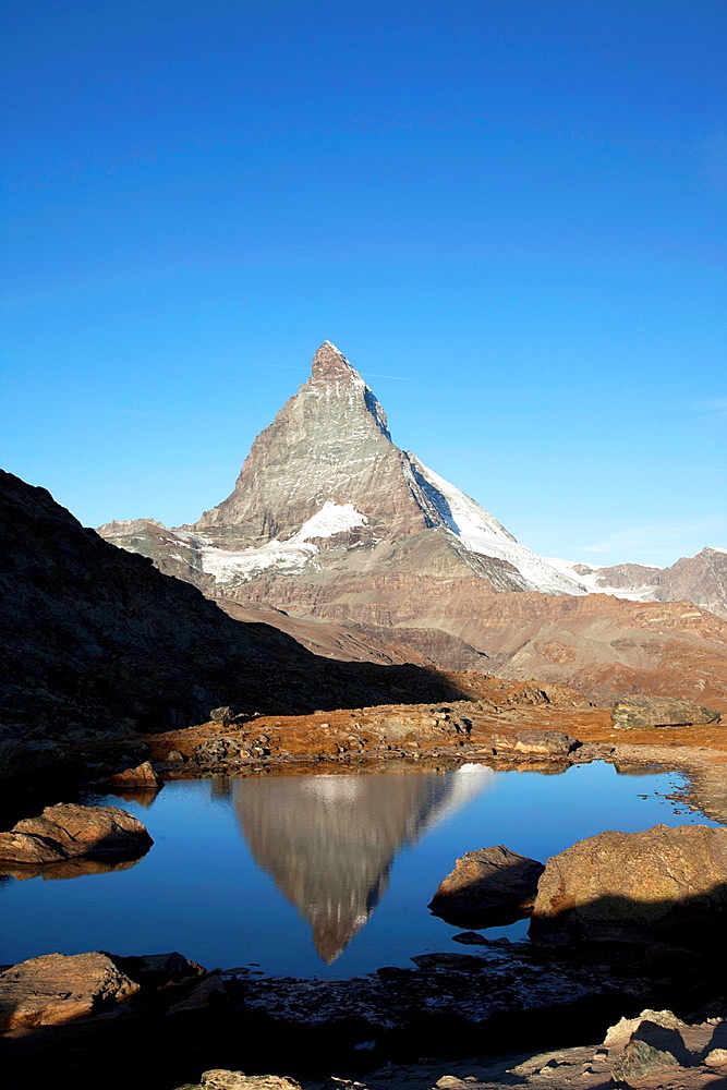 Switzerland Canton Valais Zermatt Matterhorn, view from Riffelsee.