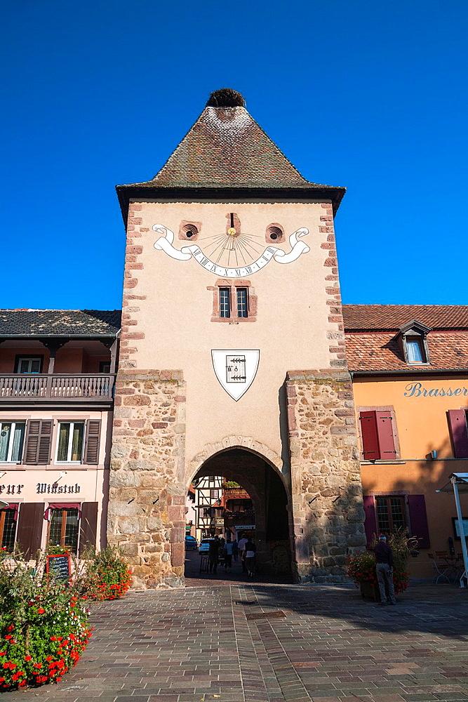 The mediaeval town gate Porte de France in Turckheim, Alsace, France, Europe