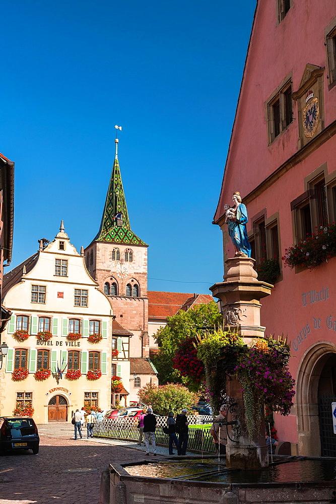City hall and church Sainte Anne in Turckheim, Alsace, France, Europe