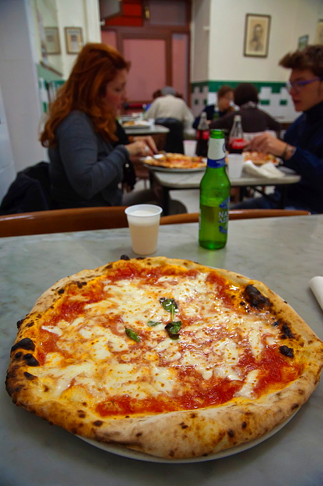 Pizza Margherita with double mozzaralle cheese Da Michele pizzeria central Naples city La Campania region southern Italy Europe