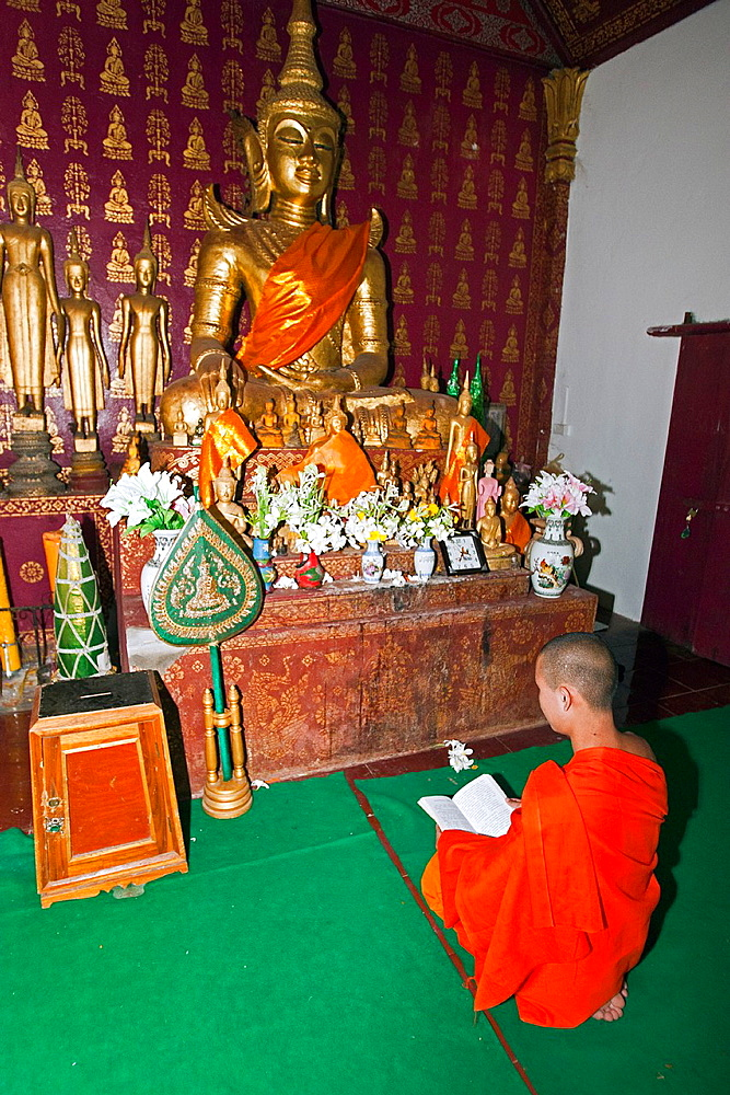 Young monk in temple or wat Luang Prabang Laos