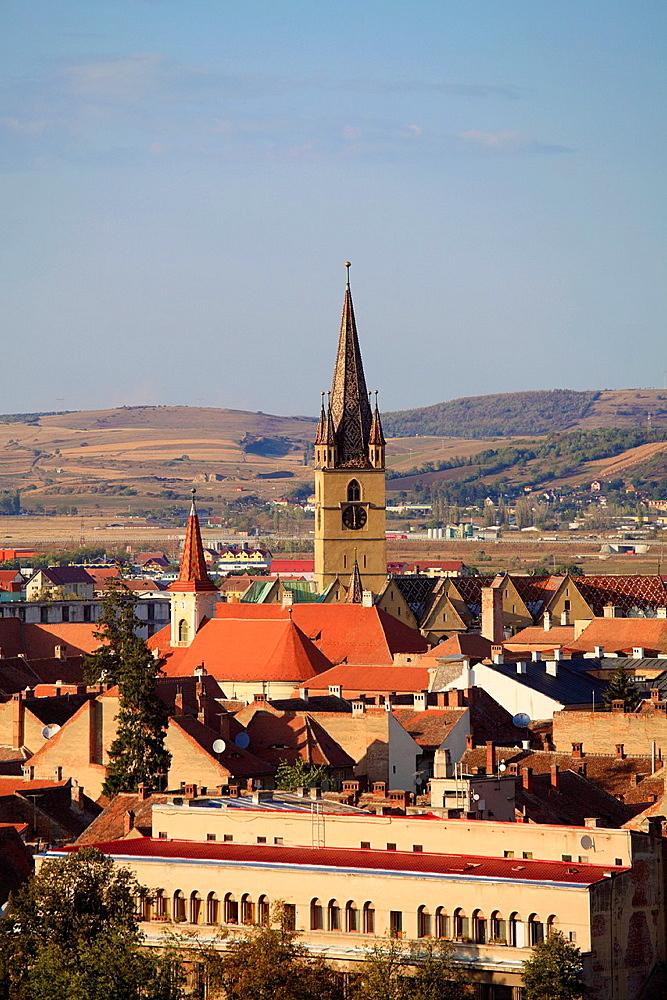 Romania, Sibiu, skyline, aerial view, Evangelical Church,