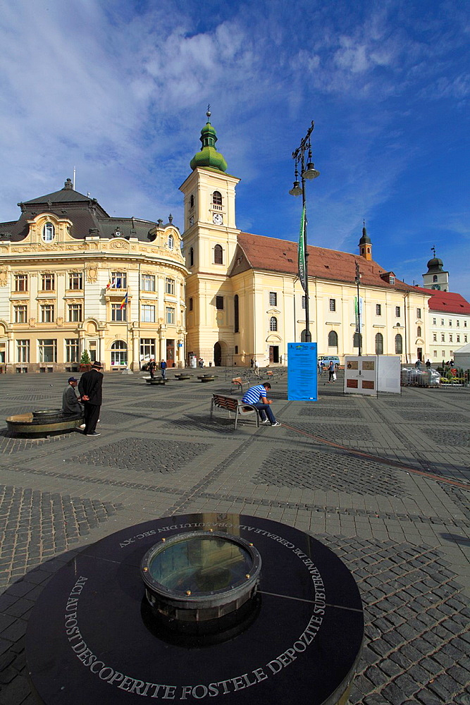 Romania, Sibiu, Piata Mare, Town Hall, Holy Trinity Catholic Church,