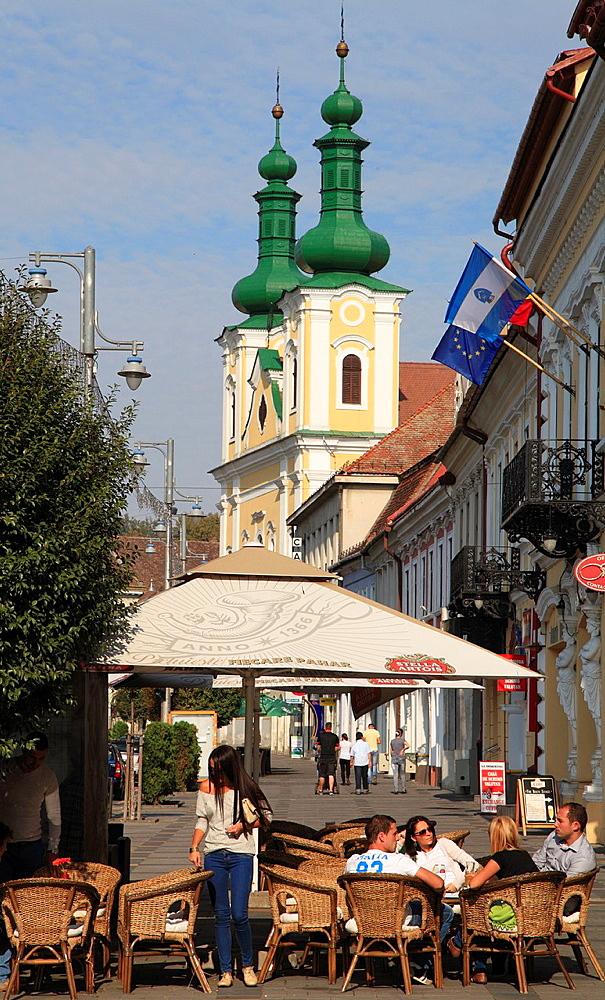 Romania, Targu Mures, Catholic church, cafe, people,