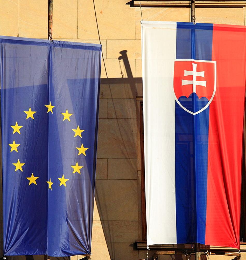 Slovakia, Bratislava, European Union and Slovakian flags,