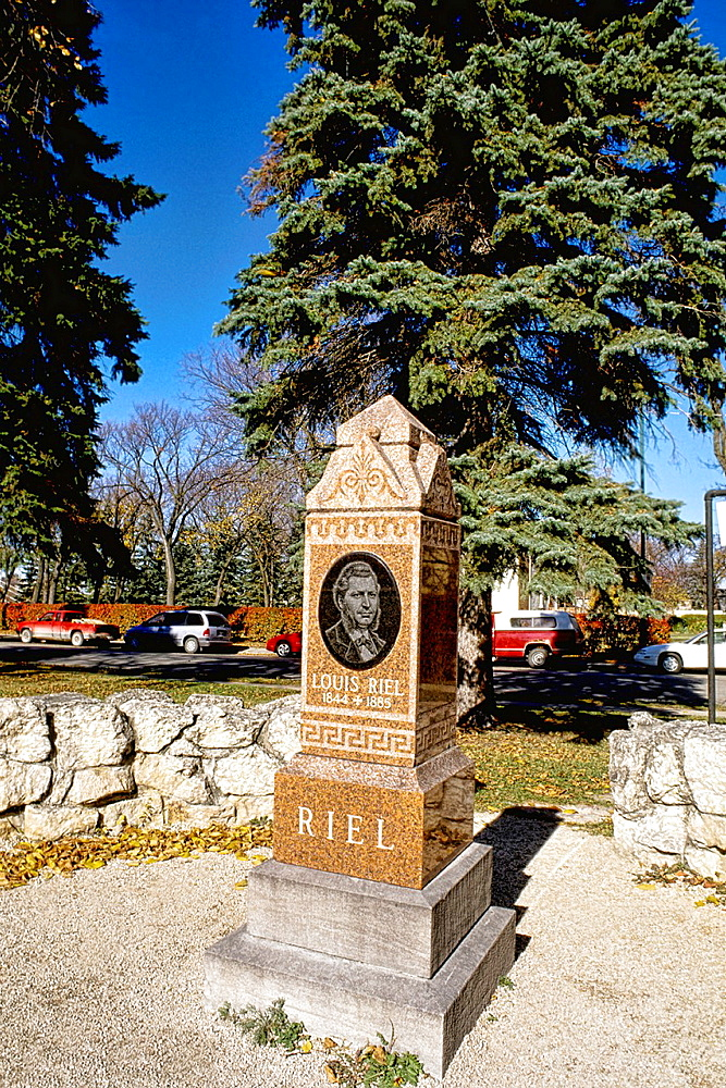 Modern downtown French Cathedral of St Boniface grave of Louis Riel President 1869of Winnipeg Manitoba Canada