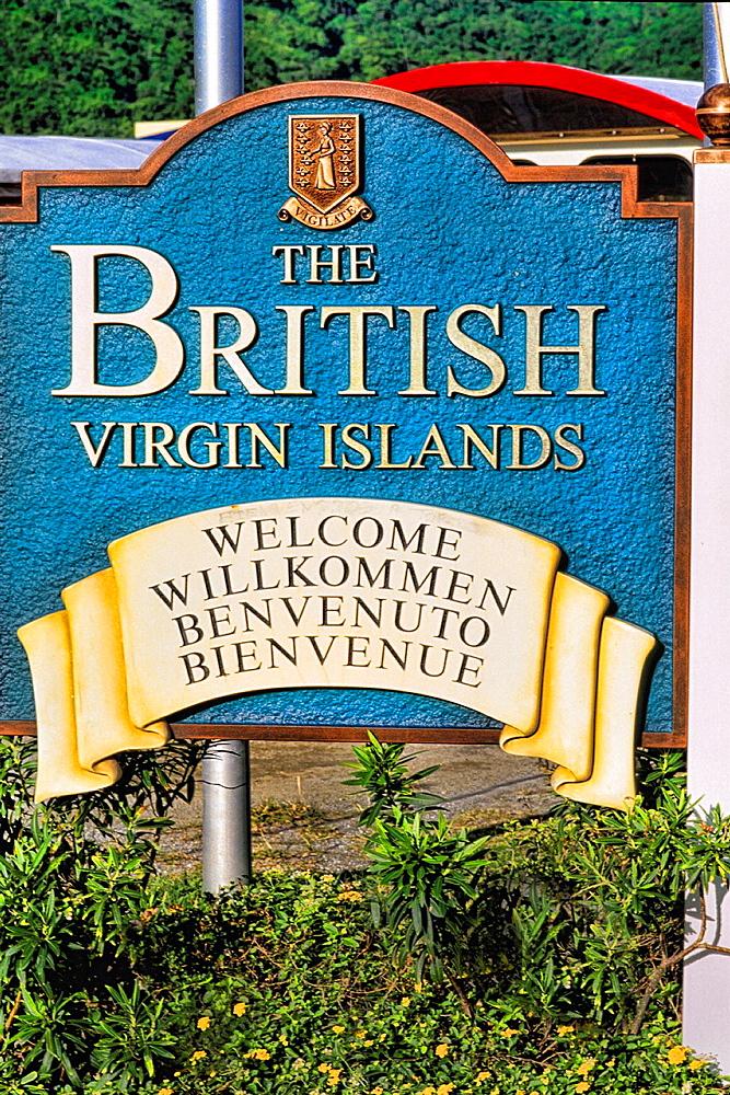 Sign welcoming tourtist to beautiful British Virgin Island at Tortola