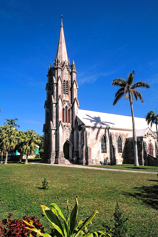Graphic angle of famous St Marks Anglican Church in Hamilton Bermuda