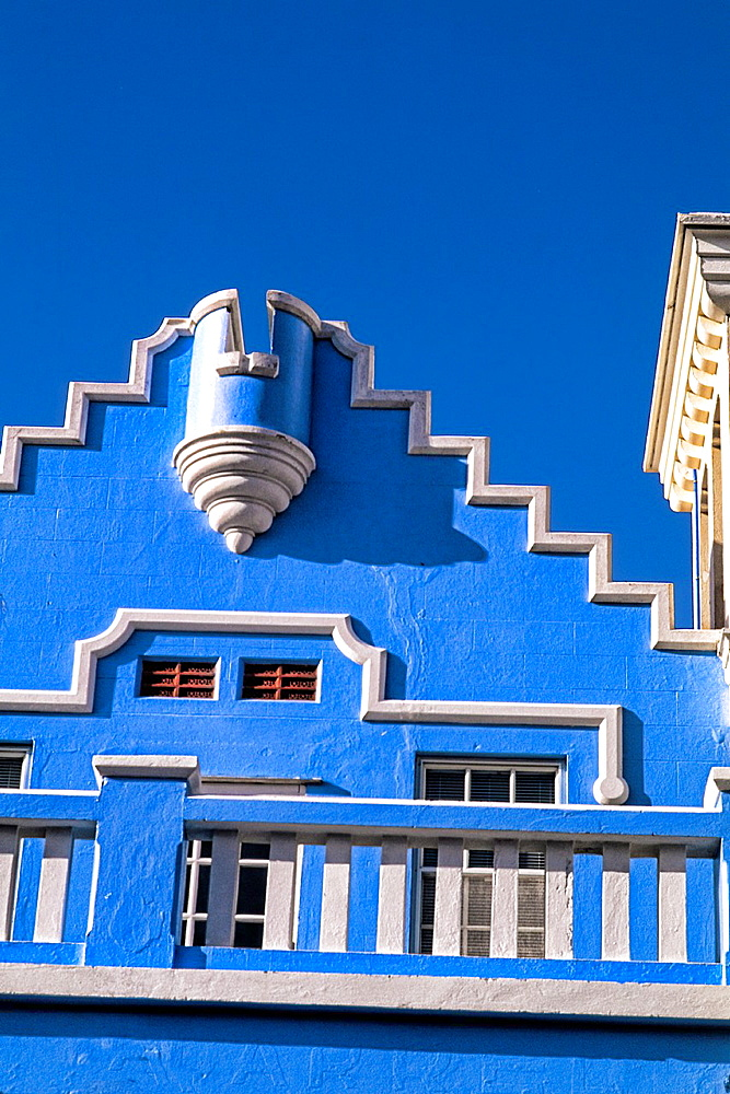 Graphic angle of the famous colorful pastel architecture in Hamilton Bermuda