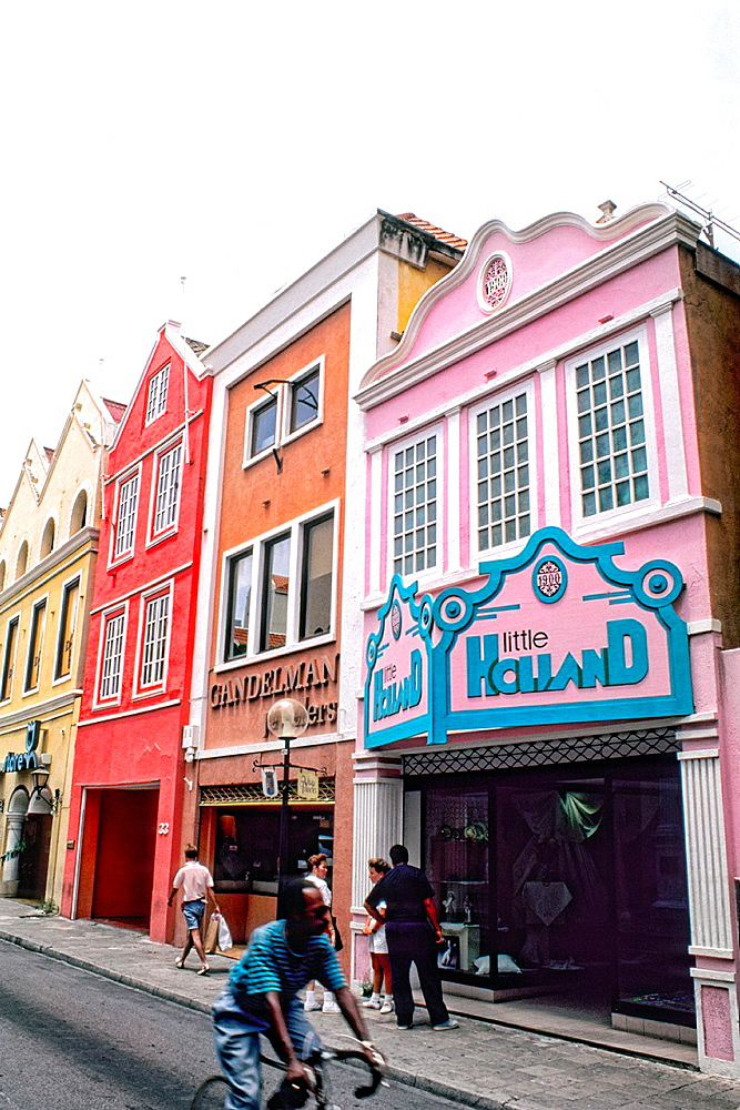 Shopping in colorful houses in downtown Curacao Caribbean