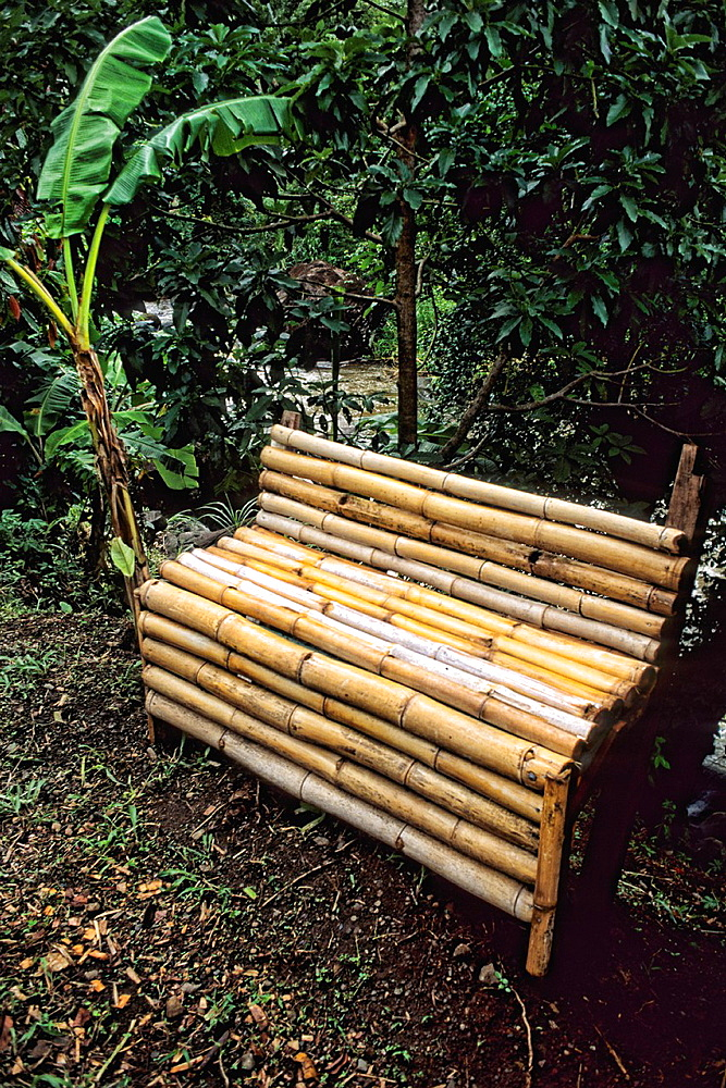 Small Sugar Cane Bench in colorful quaint Grenada Caribbean