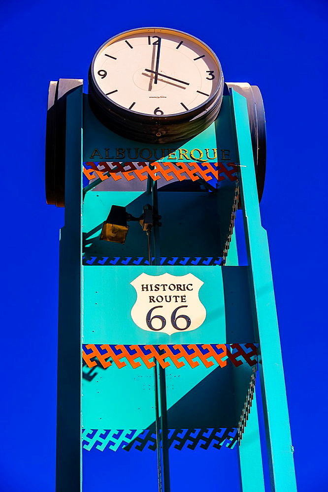 Historic Route 66 clock tower in Downtown Albuquerque, New Mexico USA