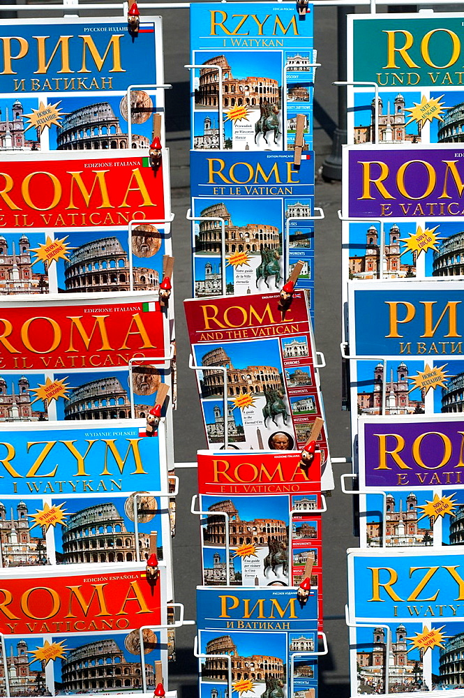Italy, Lazio, Rome, Guidebooks on Display Outside a Shop