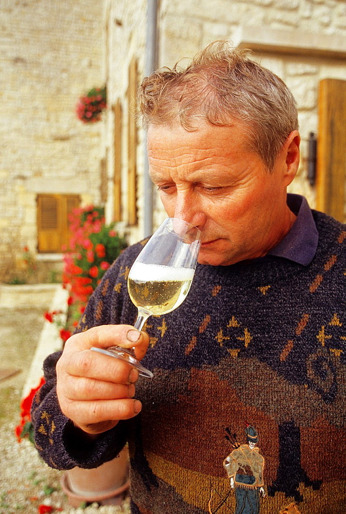 Noel Leblond-Lenoir, wine grower at Buxeuil in Cote des Bars vineyards, Aube department, Champagne-Ardenne region, France, Europe