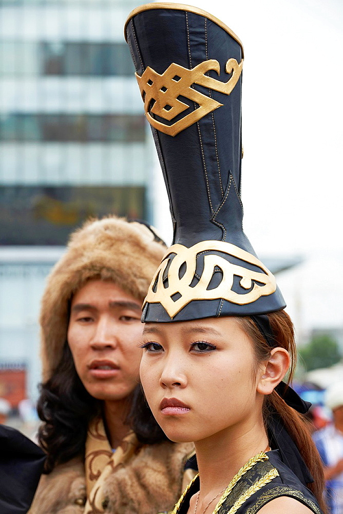 Mongolia, Ulan Bator, Sukhbaatar square, costume parade for the Naadam festival