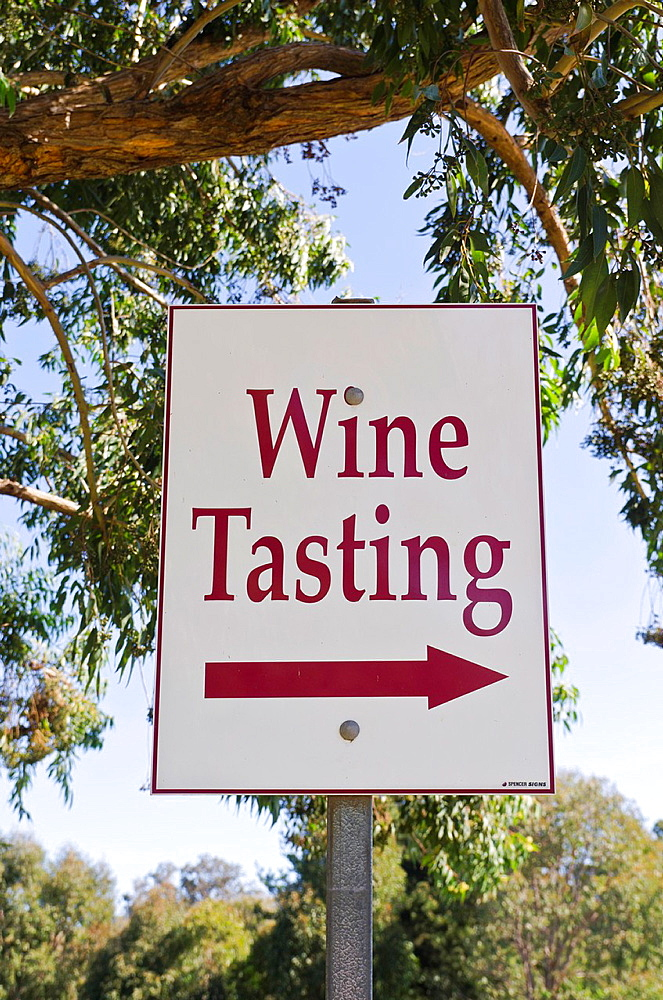 A wine tasting sign outside a winery in the Ferguson Valley in the south west of Western Australia, Australia