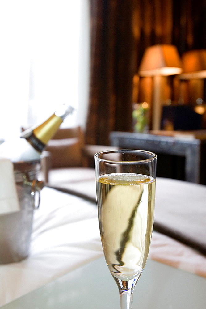 Glass of Champagne in hotel room
