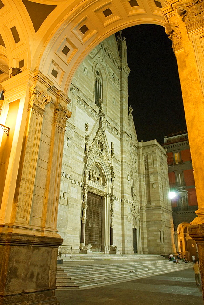 Cathedral dedicated to the Assumption of the Blessed Virgin Mary known as Duomo, seen through arcades, Naples, Campania region, southern Italy, Europe