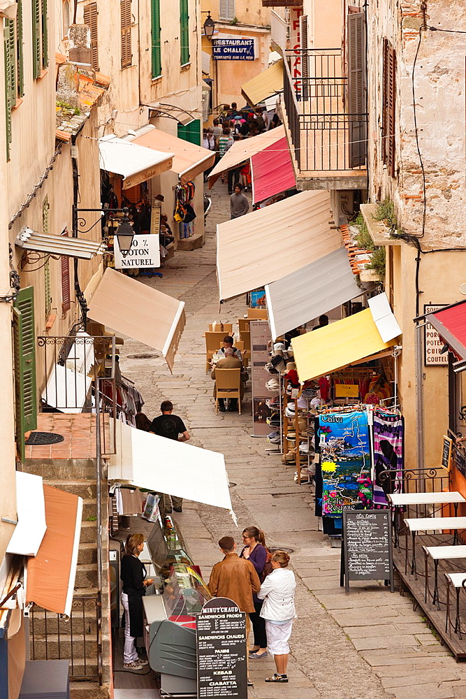 France, Corsica, Haute-Corse Department, La Balagne Region, Calvi, rue Clemenceau street, elevated view