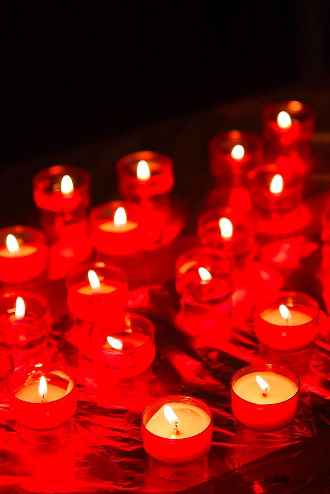 France, Corsica, Haute-Corse Department, La Balagne Region, Calvi, votive candles