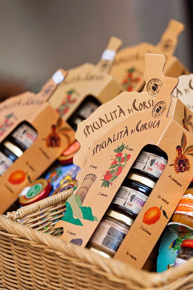 France, Corsica, Haute-Corse Department, La Balagne Region, Calvi, souvenirs, Corsican jams