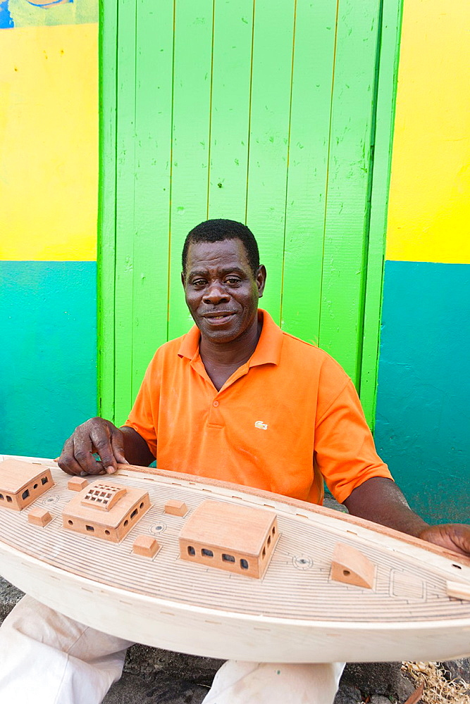 St Vincent and the Grenadines, Bequia, Port Elizabeth, Mauvins Model Boat Shop, model maker