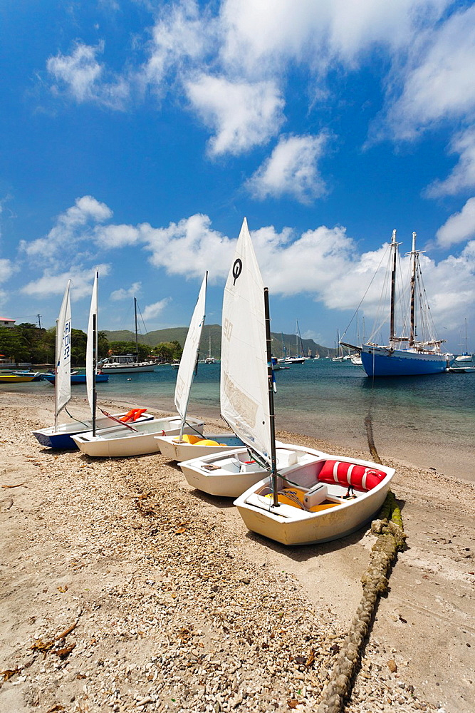 St Vincent and the Grenadines, Bequia, Port Elizabeth, Admiralty Bay, small sailboats