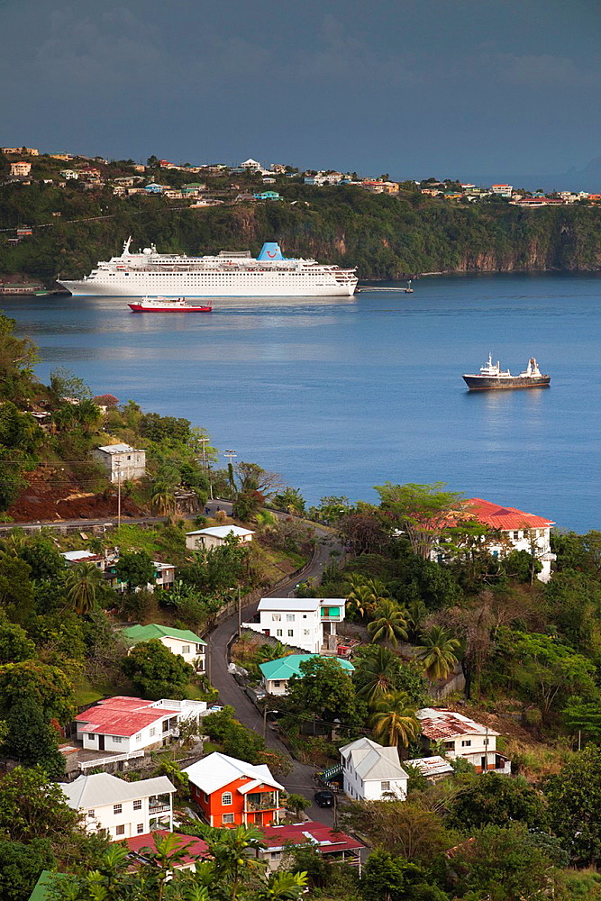 St Vincent and the Grenadines, St Vincent, Kingstown, elevated city view with cruiseship