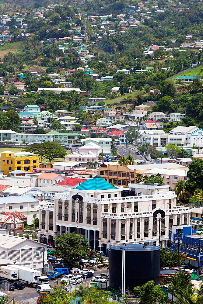 St Vincent and the Grenadines, St Vincent, Kingstown, elevated city view